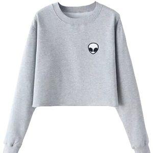 🌸 Light Gray Alien Pullover Sweatshirt